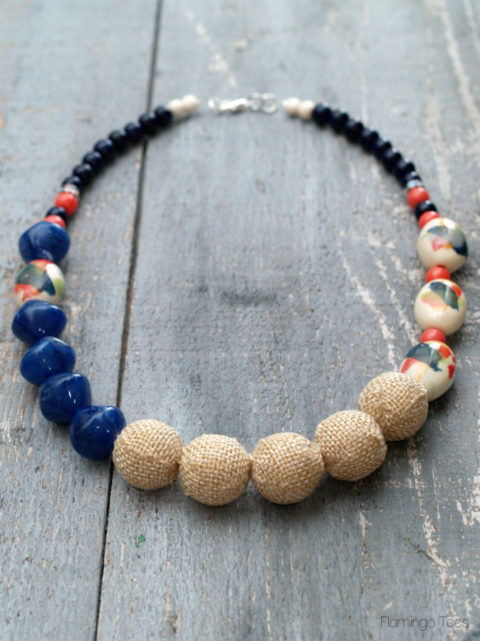 Watercolor and Burlap Statement Necklace