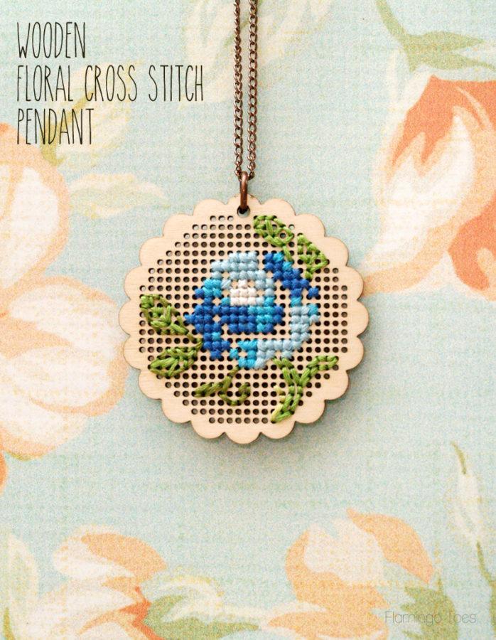 Wooden Floral Cross Stitch Pendant