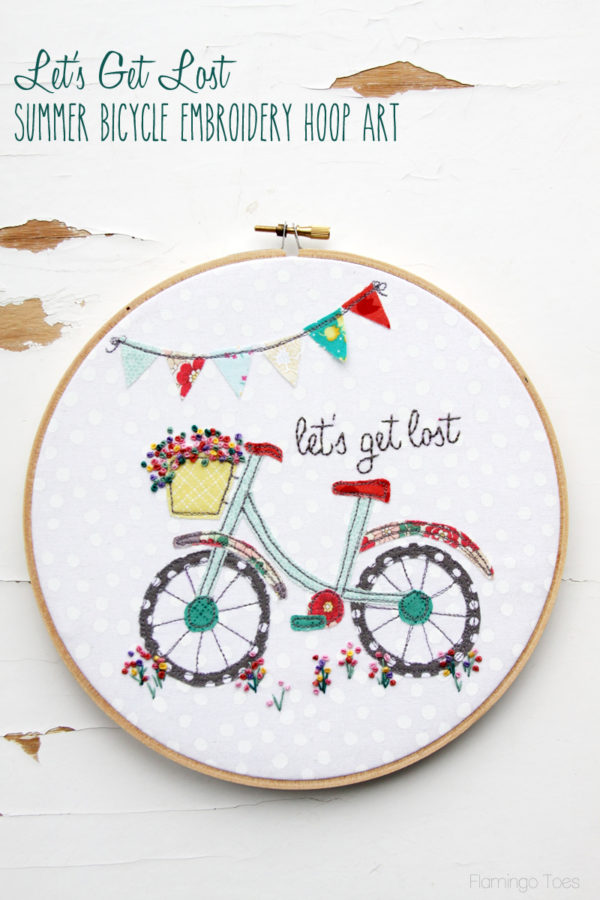 Lets Get Lost Summer Embroidery Hoop