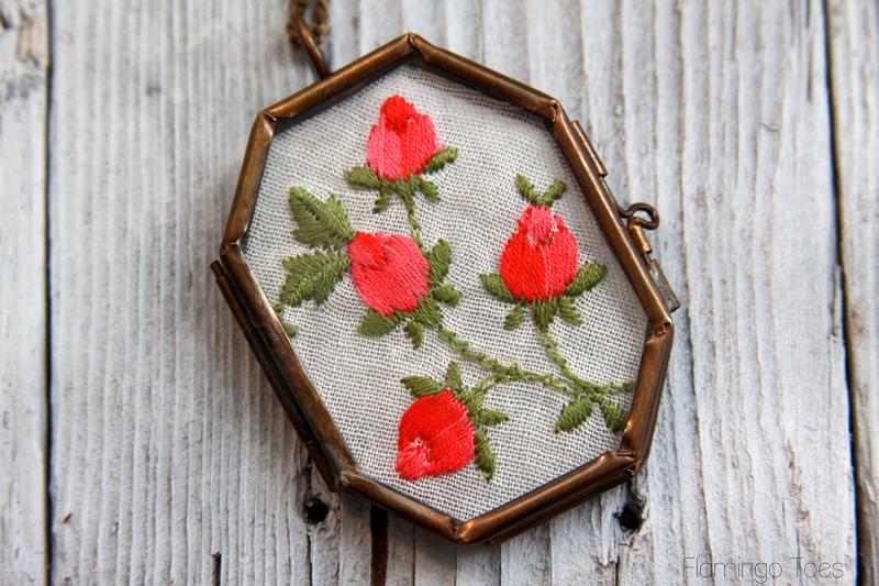 Vintage Embroidered Handkerchief Necklace