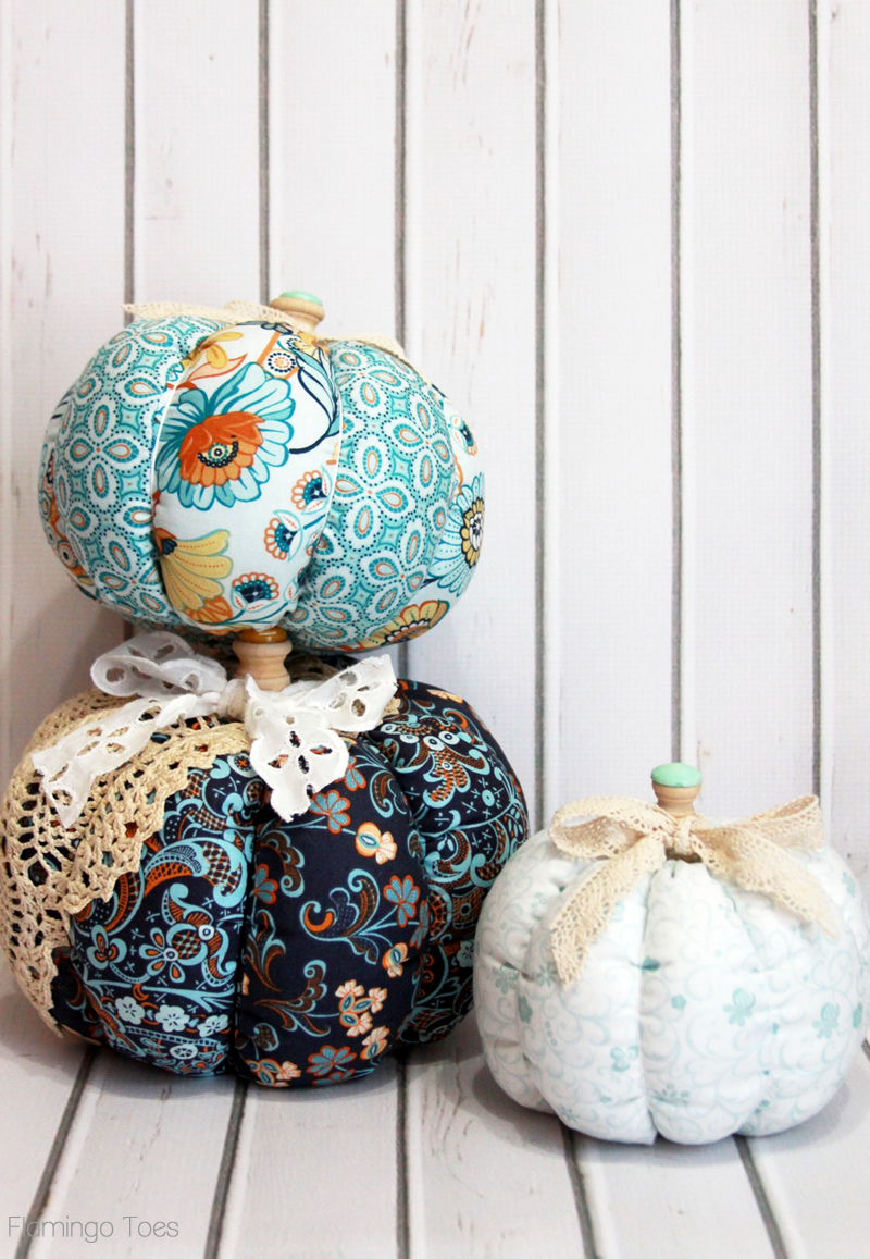 Turquoise Fabric Pumpkins