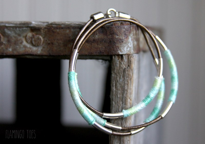 Floss Wrapped Leather Bracelet