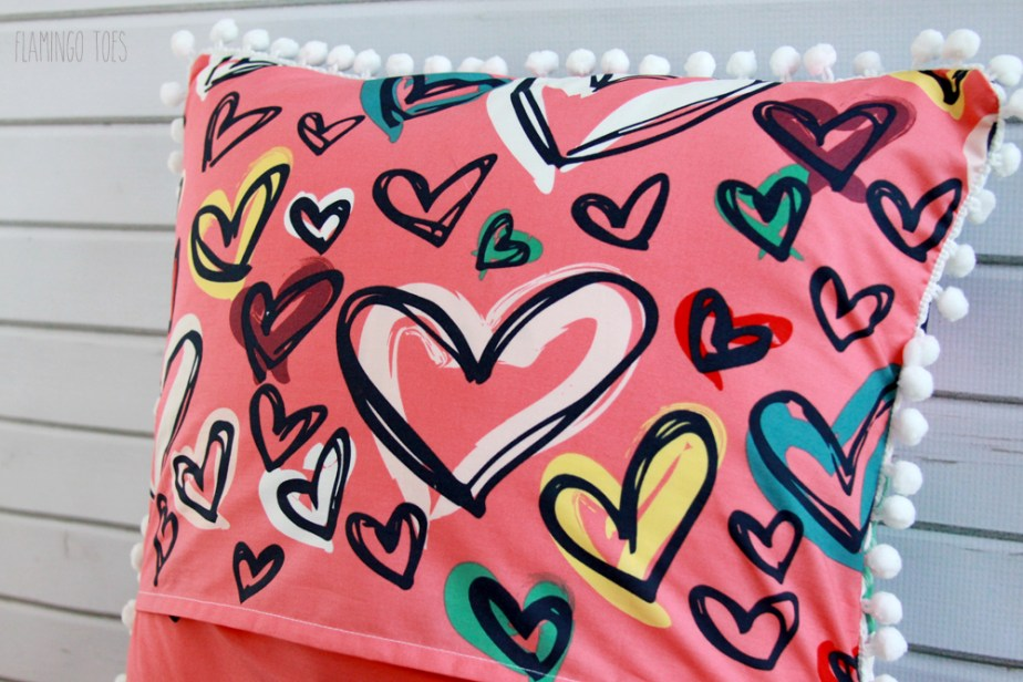 Heart Fabric on Back of Pillow