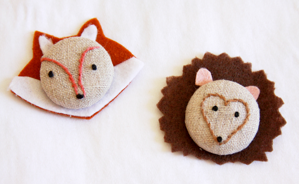 fox and hedgehog buttons