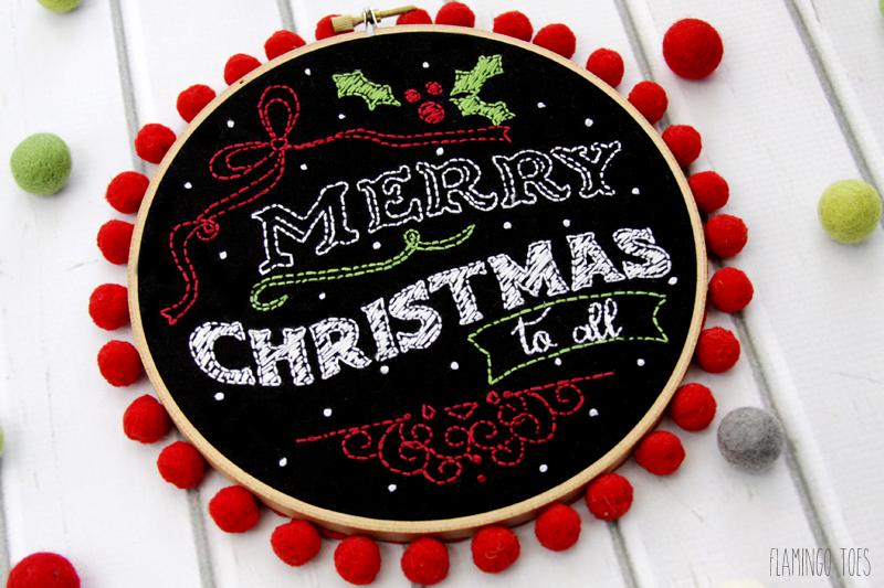 Christmas Embroidery Chalk Art Hoop