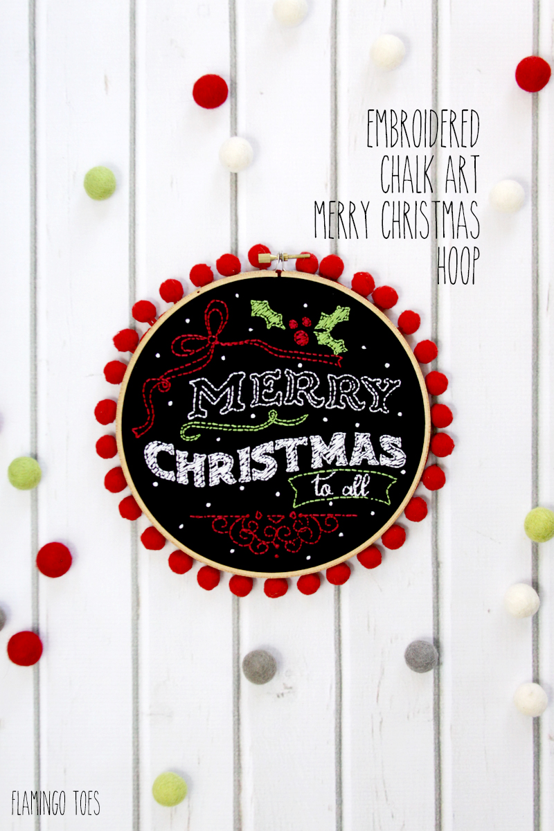 Embroidered Chalk Art Merry Christmas Hoop