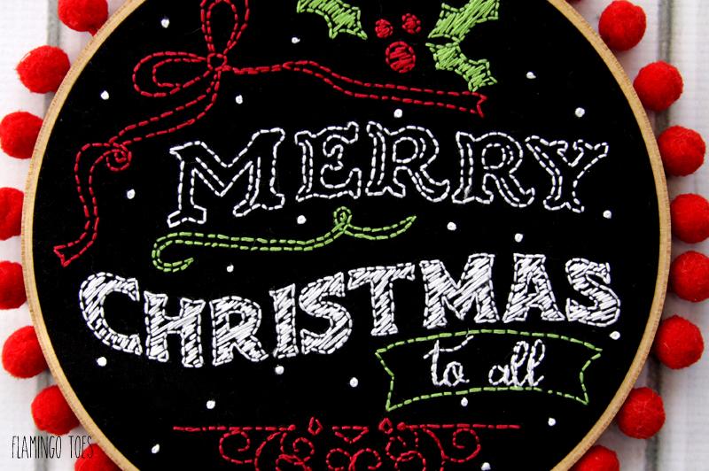 Merry Christmas Hoop Art