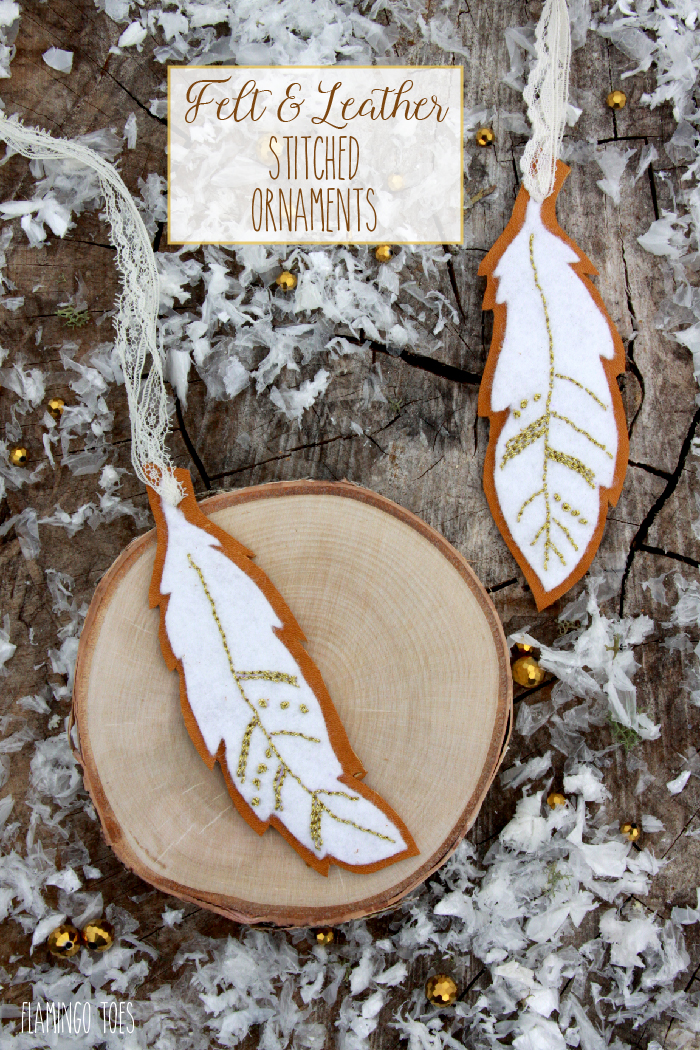 Felt and Leather Stitched Ornaments - Free Pattern-01