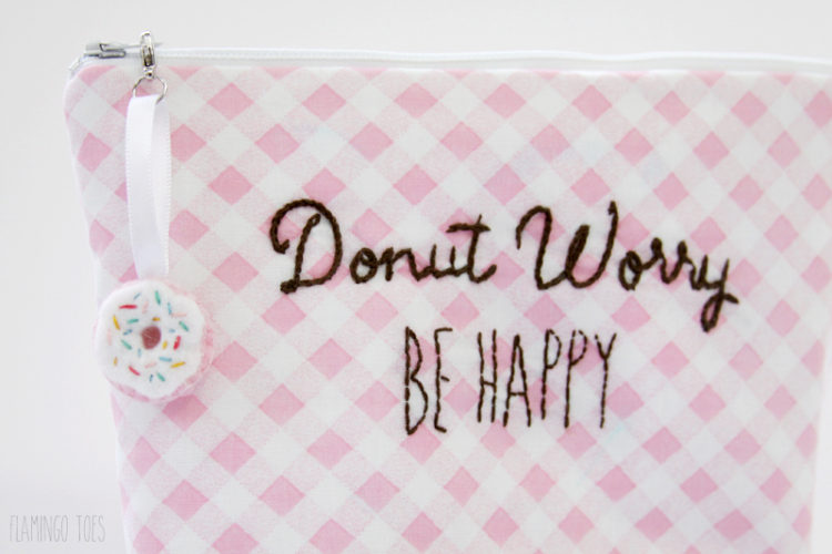 Donut Embroidery Zipper Pouch