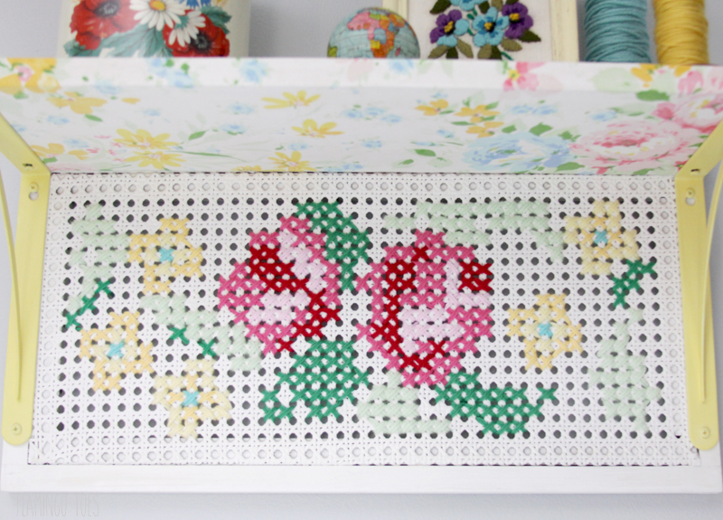 Fabric and Cross Stitch Shelf