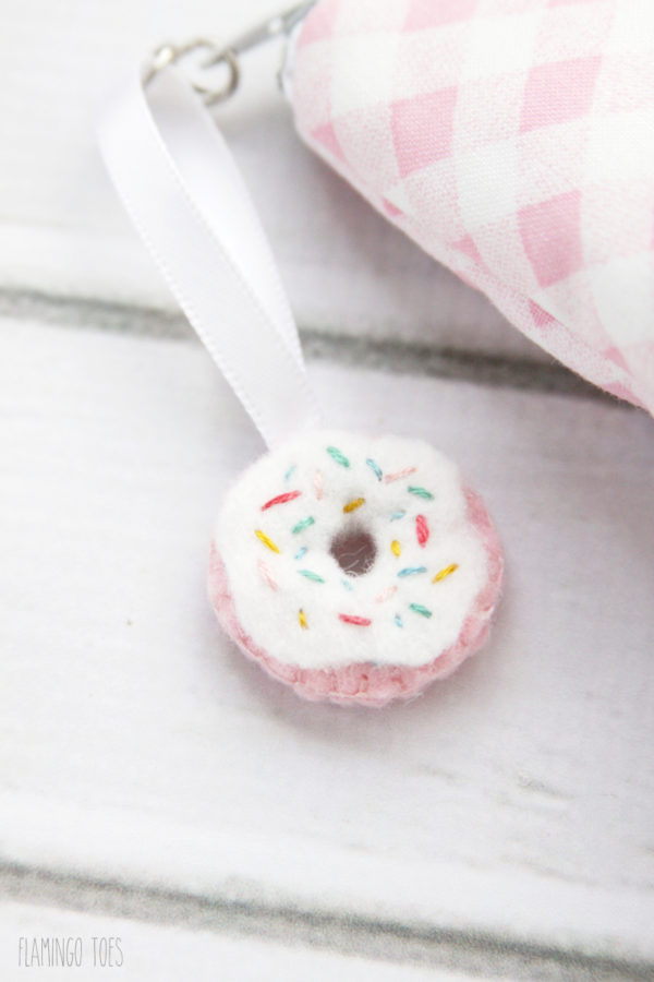 Tiny Felt Donut Zipper Pull