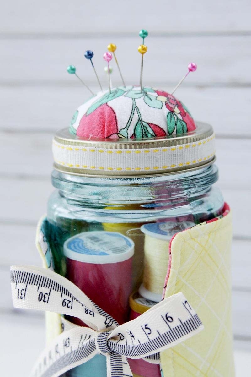 Colorful Mason Jar Pincushion