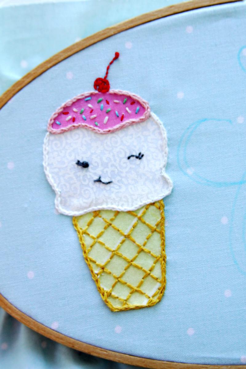Cute Embroidered Ice Cream Cone