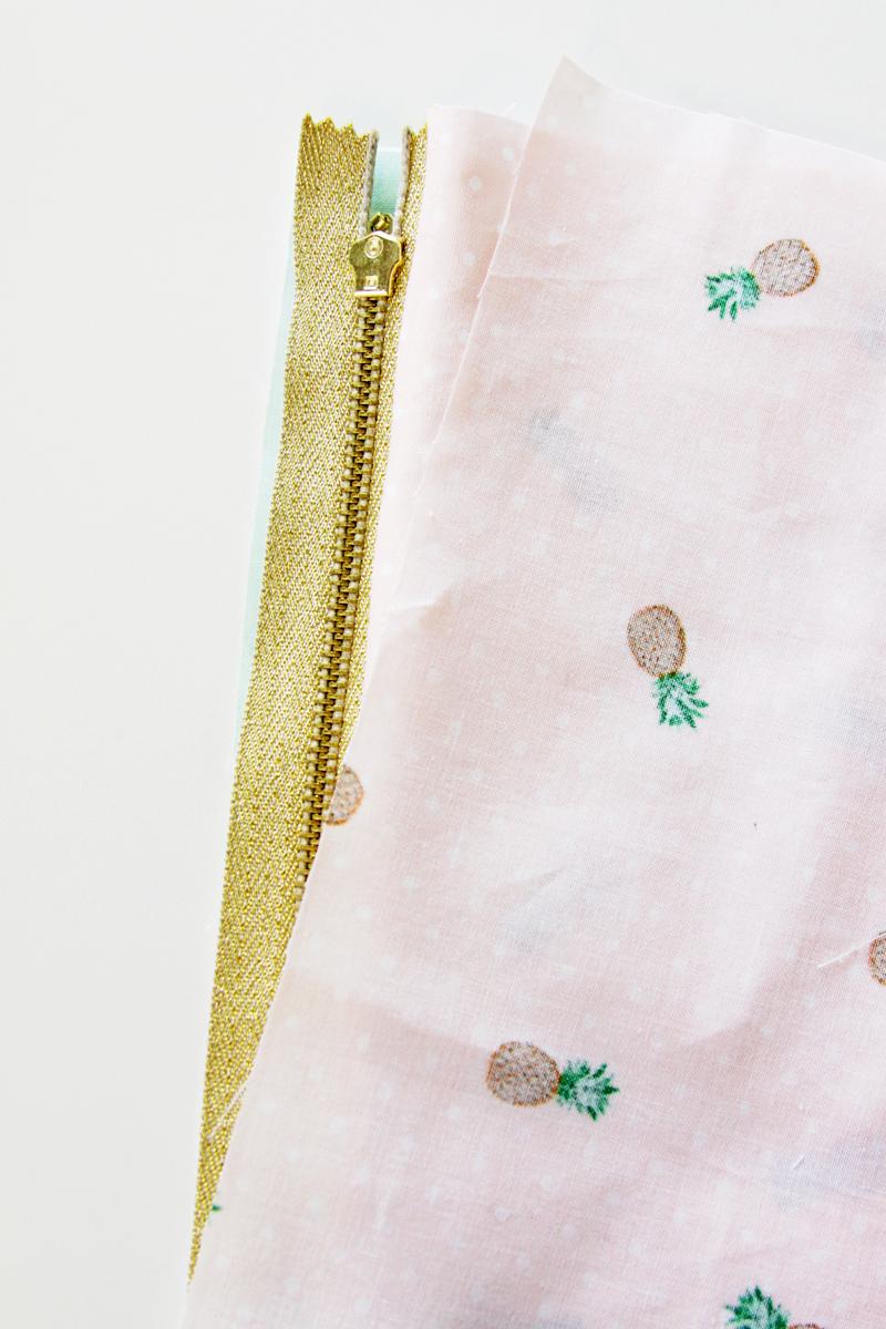 Sewing reverse side of zipper