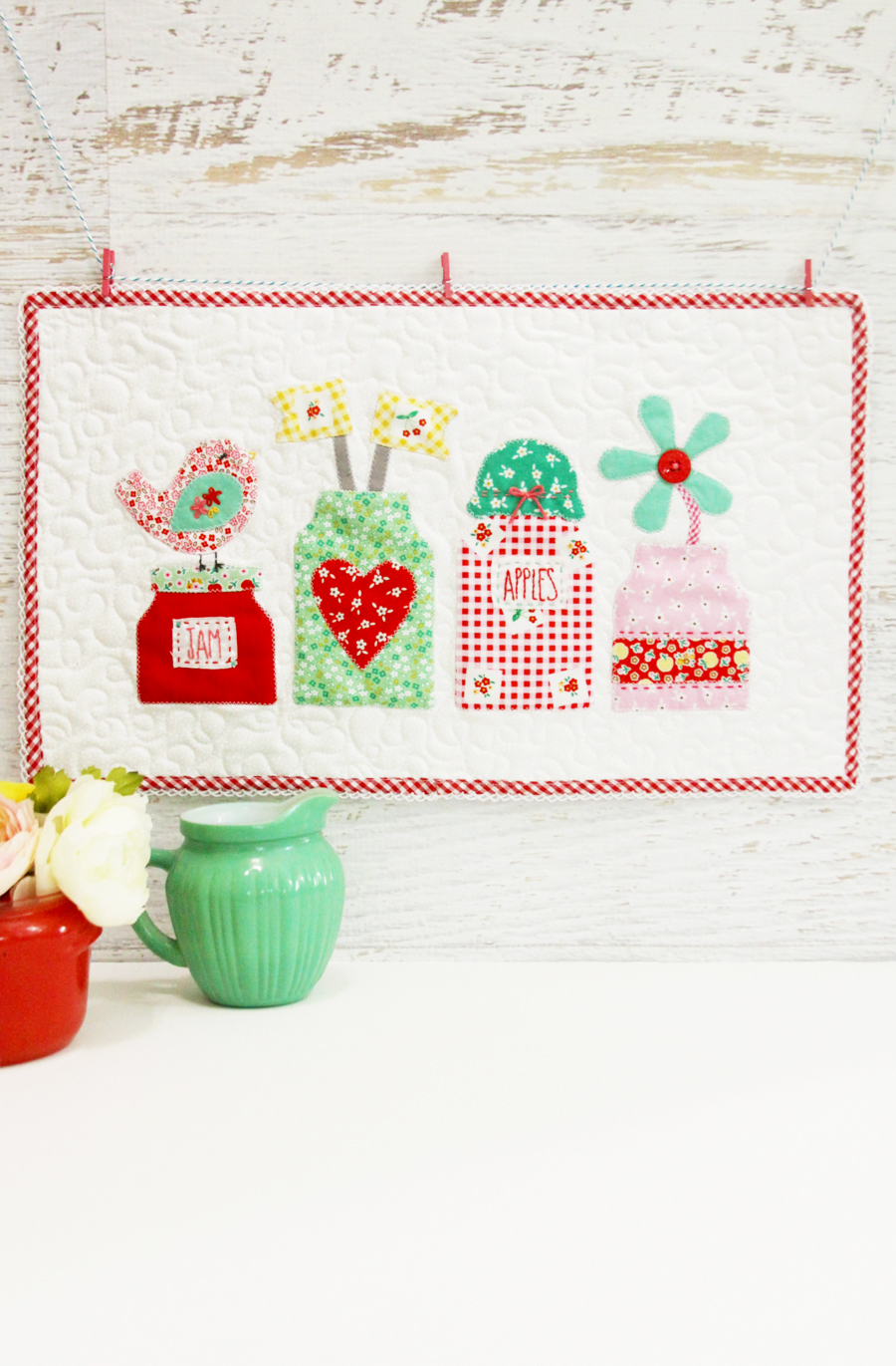 Mason Jars Applique Mini Quilt