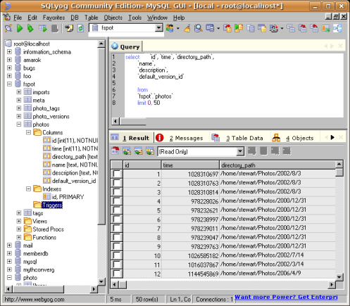 SQLyog on WINE connected to my MySQL db on linux