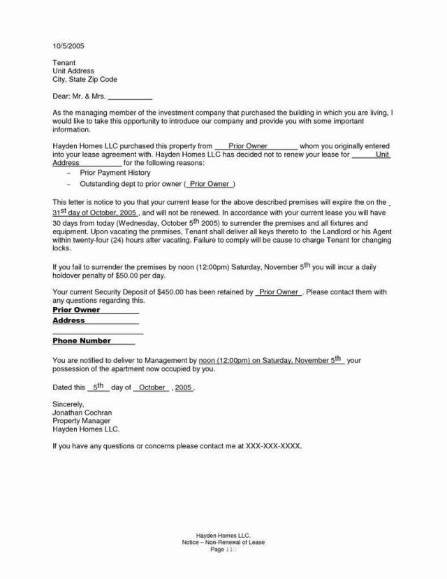 Renewing Lease Agreement Best Of Not Renewing Lease Letter