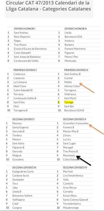 lliga catalana 2014 divisions