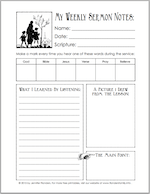 Free sermon note outlines to encourage kids to listen in church