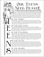 Praying for your Teens | free printable from www.flandersfamily.info