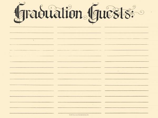 Free Printable Graduation Guest Register Via Flandersfamily.info  Guest Register Template
