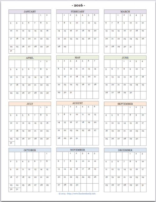 Mailbag: 2016 Calendars for Advanced Planning | Flanders Family ...