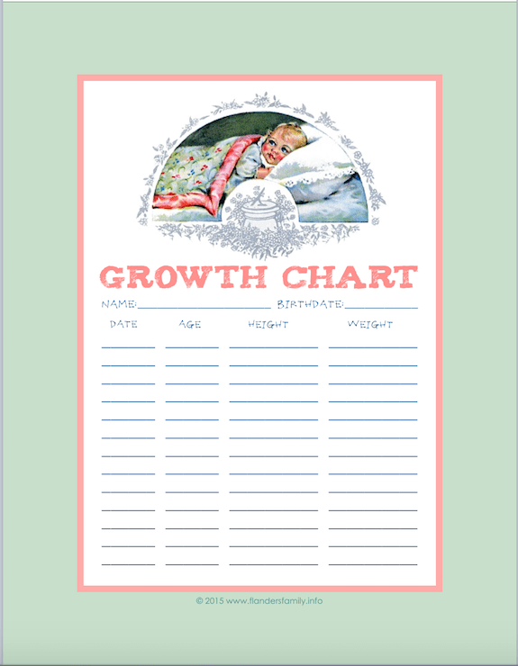 This is an image of Nerdy Printable Growth Chart
