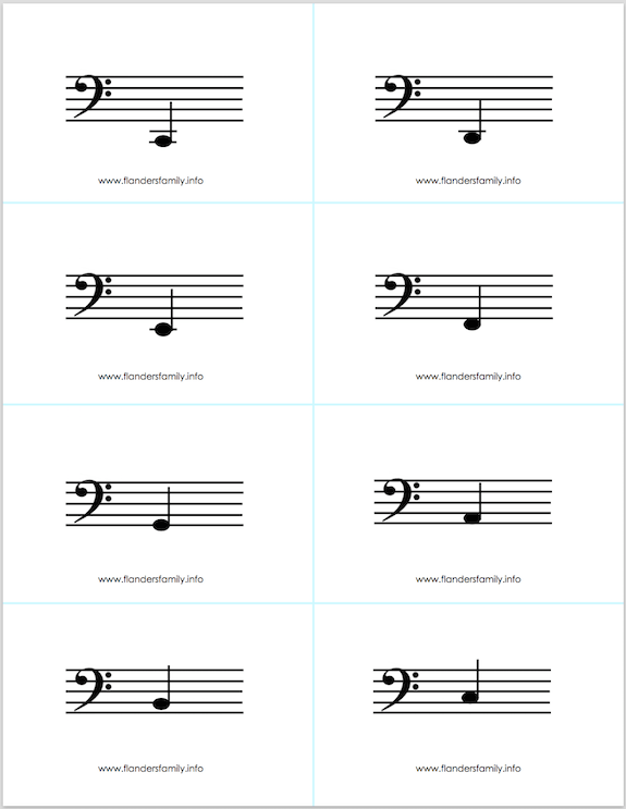 treble clef flash cards pdf