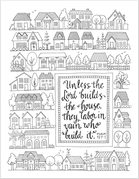 Let The Lord Build Your House Coloring Page