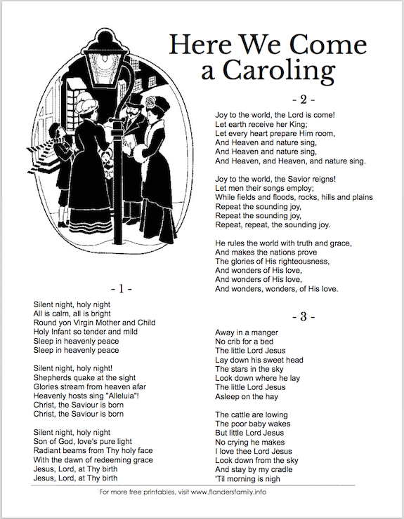 christmas carol song sheets free printable  the