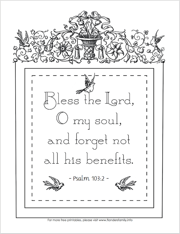 Free Coloring Page: Forget Not All His Benefits