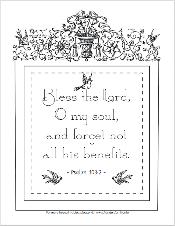 Free Coloring Page Forget Not All His Benefits