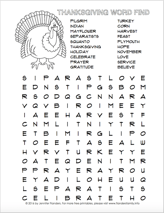 Thanksgiving Word Find (Free Printable) - Flanders Family ...