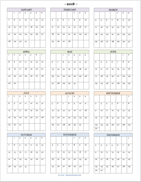 2018 calendar year at a glance thevillas co