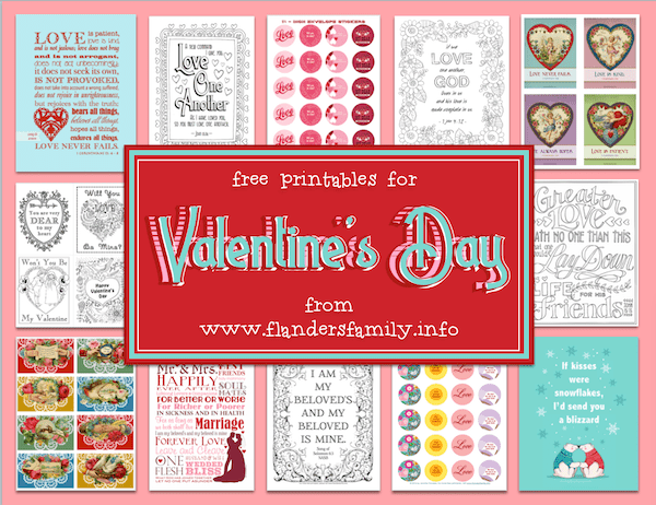 Lots of free printable Valentine's Day stickers, cards, and coloring pages from www.flandersfamily.info
