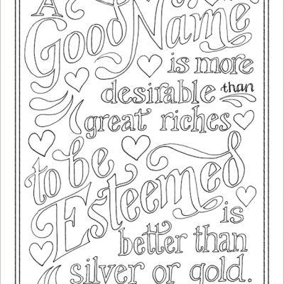 A Good Name (Coloring Page)