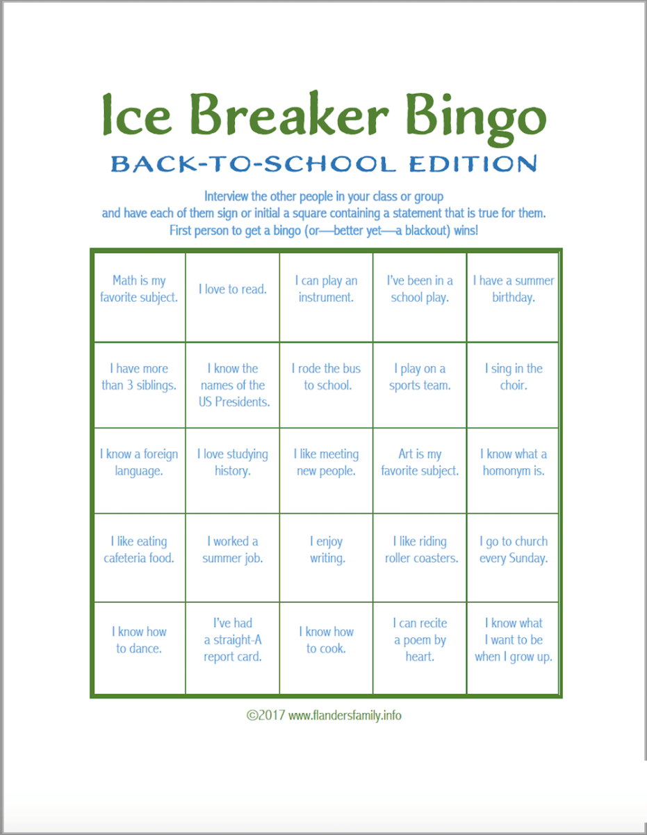 ice breaker bingo  back
