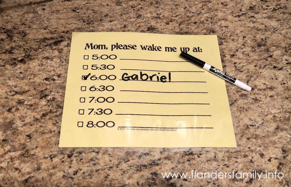 Free printable wake-up reminder