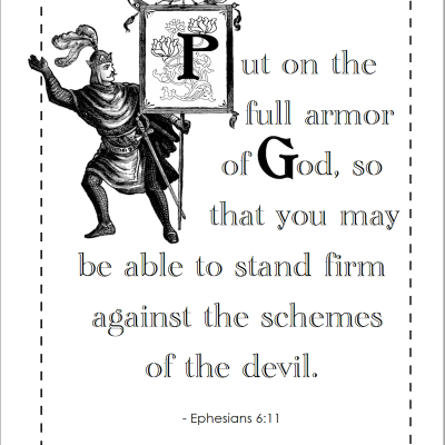 Put on the Full Armor of God (Coloring Page)