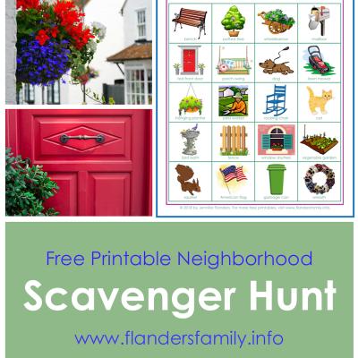 Neighborhood Bingo: Free Printable Scavenger Hunt Cards
