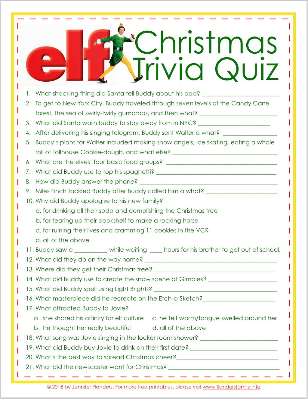 Elf Trivia Christmas Quiz Free Printable