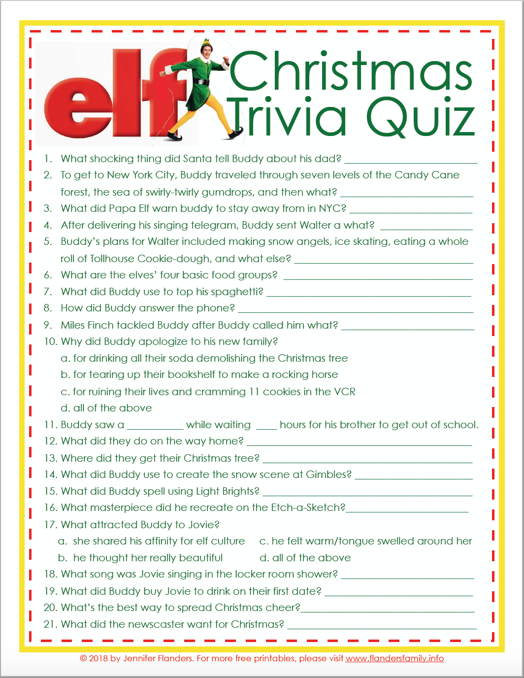Elf Christmas Trivia Game Free Printable