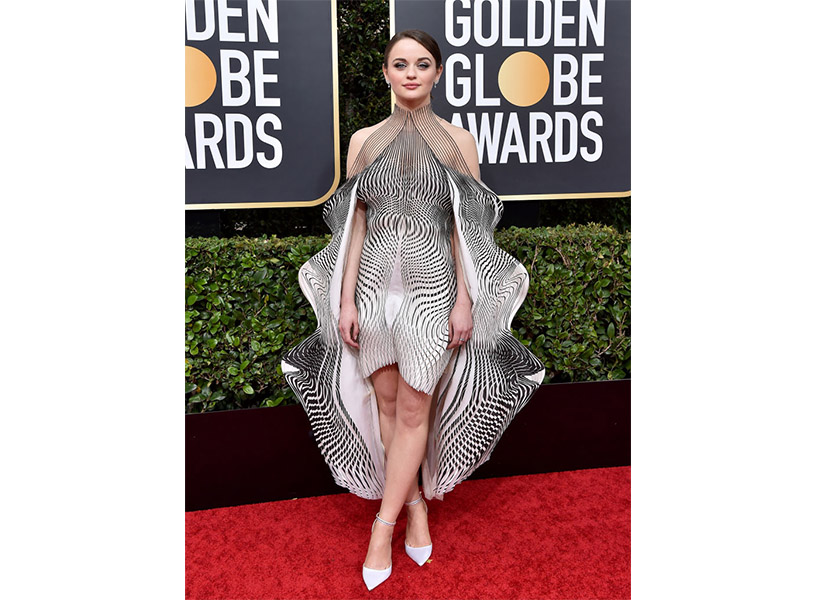 Joey King wears a black and white dress on the Golden Globes 2020 red carpet