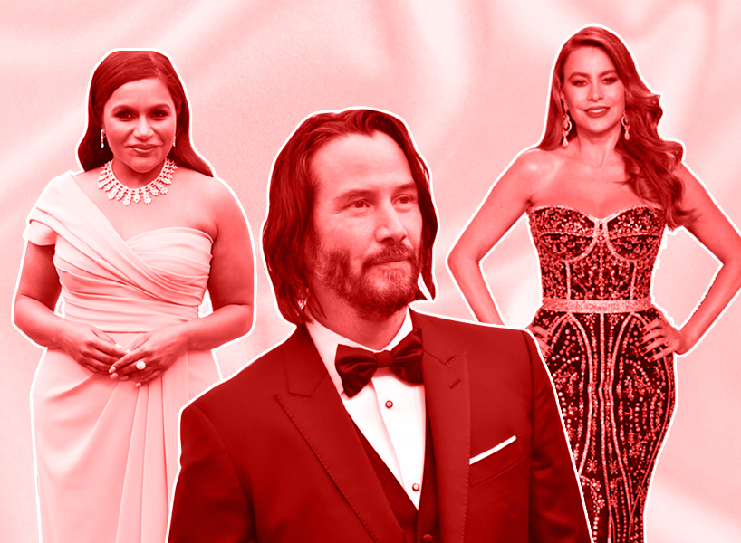 A photo of Mindy Kaling, Keanu Reeves and Sofia Vergara at the Oscars and Vanity Fair Oscars party with a red overlay