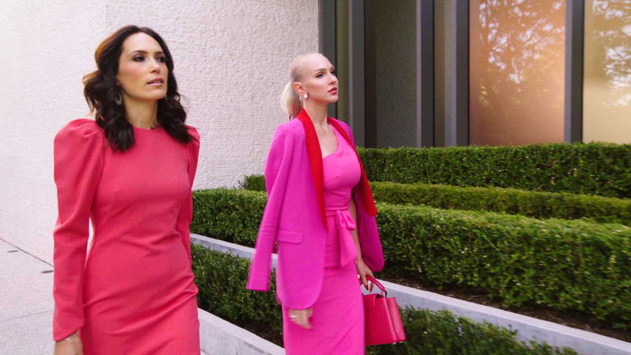 christine quinn outfits: pink suit