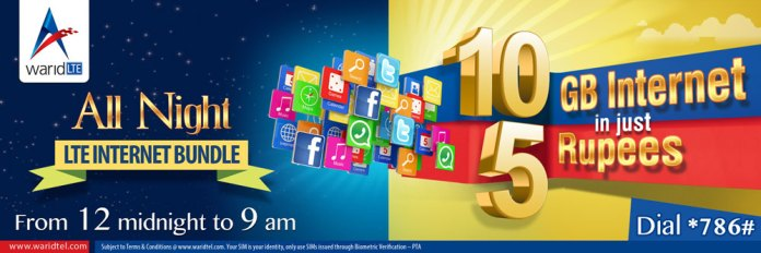 Warid All Night Internet Offers