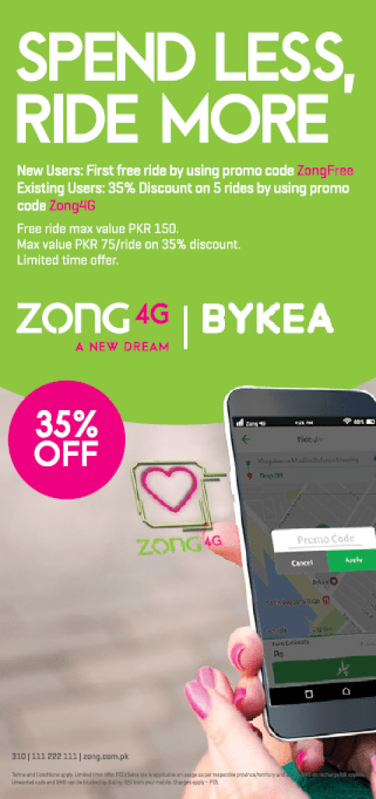 Zong 4G Partners with Bykea | Flare