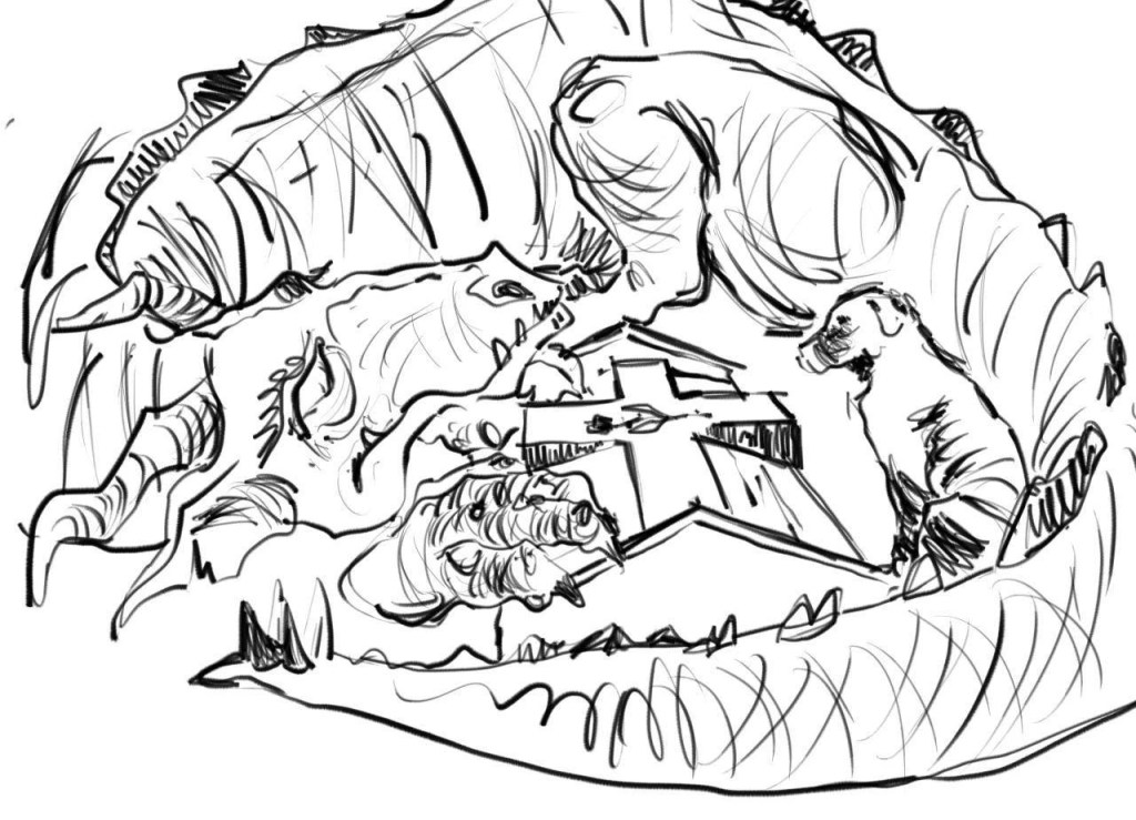 a dragon curled around a grave with a dog by his side
