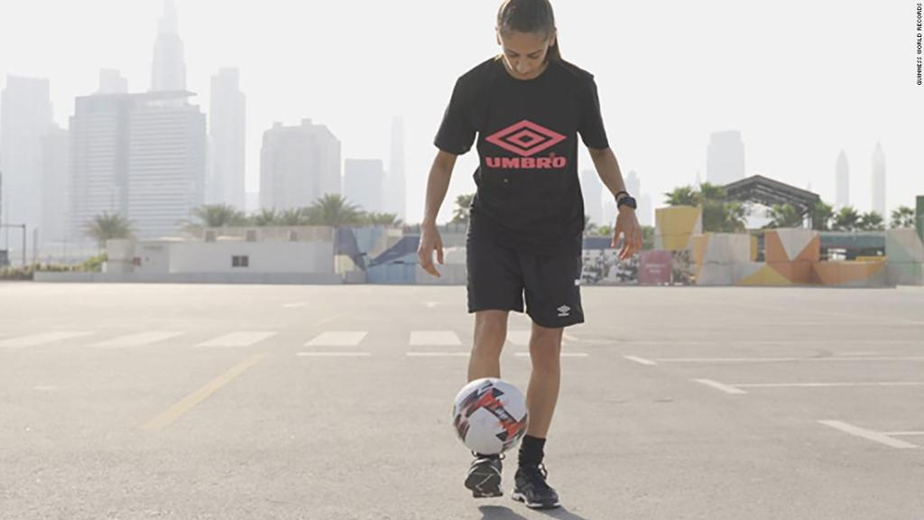 Emirati woman smashes soccer 'hotstepping' Guinness record