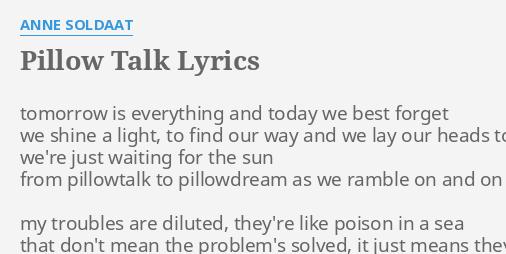pillow talk lyrics by anne soldaat